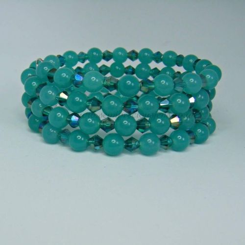 Sea Green Quartzite Memory Wire Wrap Around Bracelet