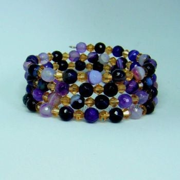 Purple Striped Agate Memory Wire Wrap Around Bracelet