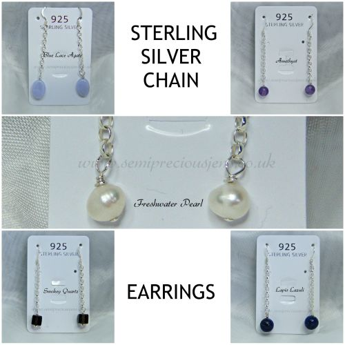 Gemstones & Sterling Silver Chain Earrings