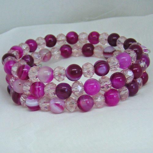 Pink Striped Agate Memory Wire Wrap Around Bracelet