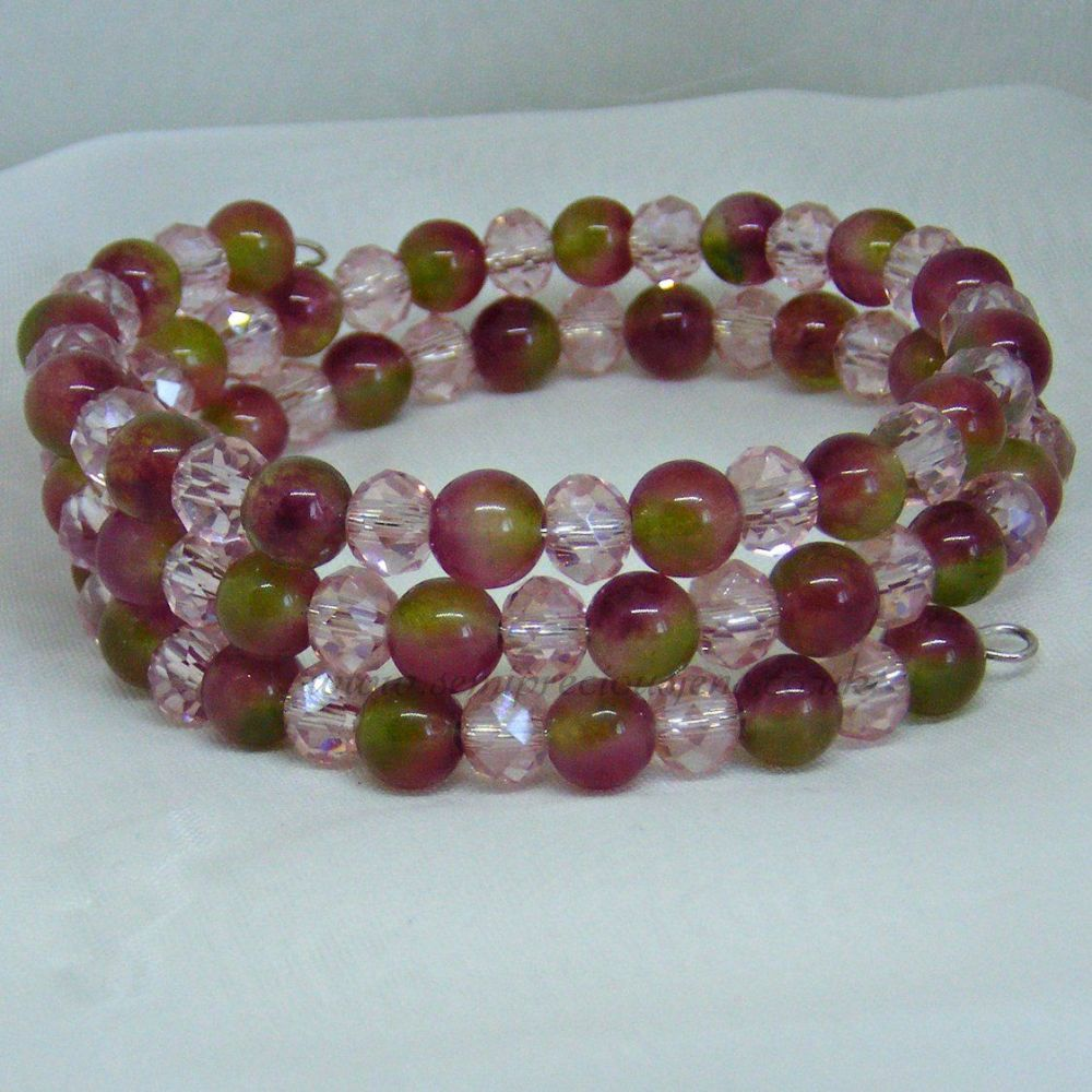 Tourmaline Wrap Around Memory Wire Bracelet