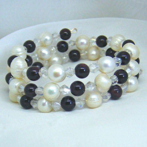 Garnet & Pearl Wrap Around Memory Wire Bracelet