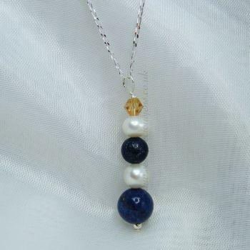 Lapis Lazuli & Pearls Silver Chain Neckace