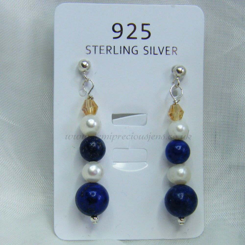 Lapis Lazuli & Pearl Earrings