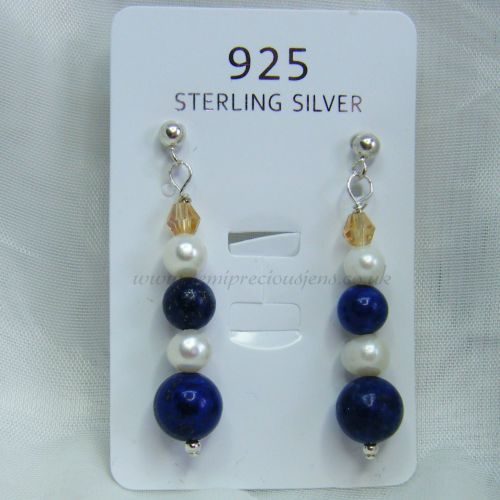 Lapis Lazuli & Pearl Earrings