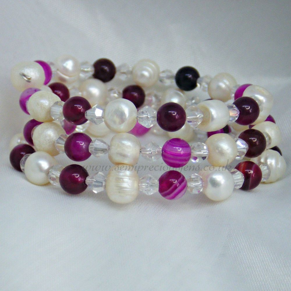 Fuschia Striped Agate & Pearl Memory Wire Bracelet