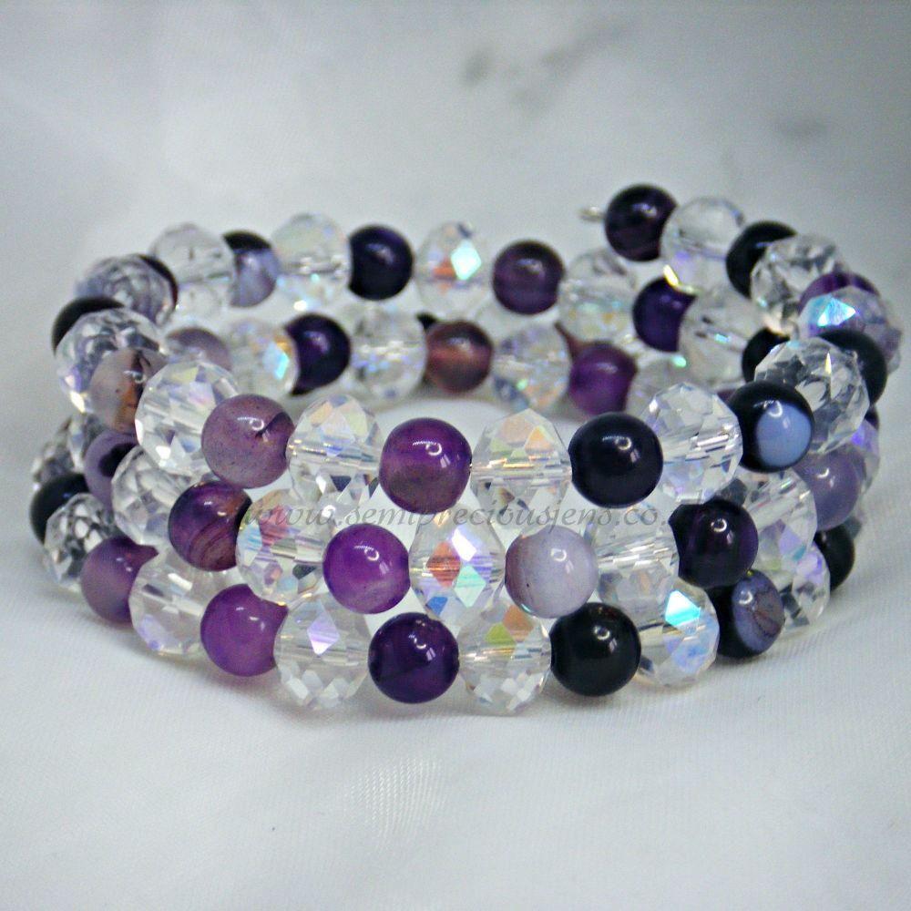 Purple Stripe Agate Memory Wire Bracelet