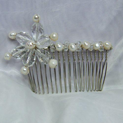 Freshwater Pearl & Crystal Teardrop Hair Comb