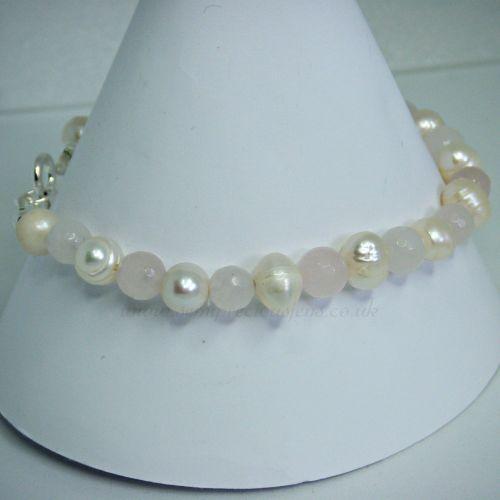 Rose Quartz & Freshwater Pearl Bracelet