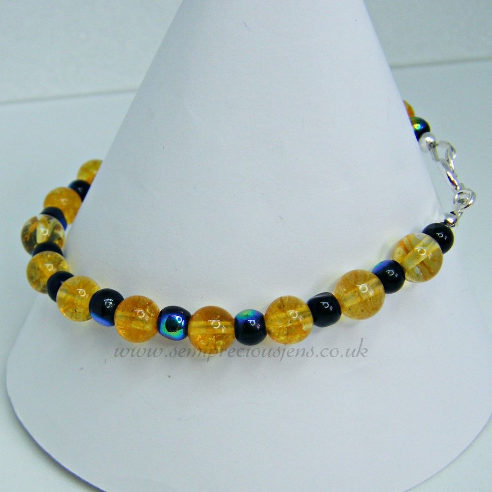 Citrine with Black Shimmer Bead Bracelet