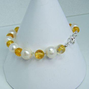 Citrine & White Freshwater Pearl Bracelet