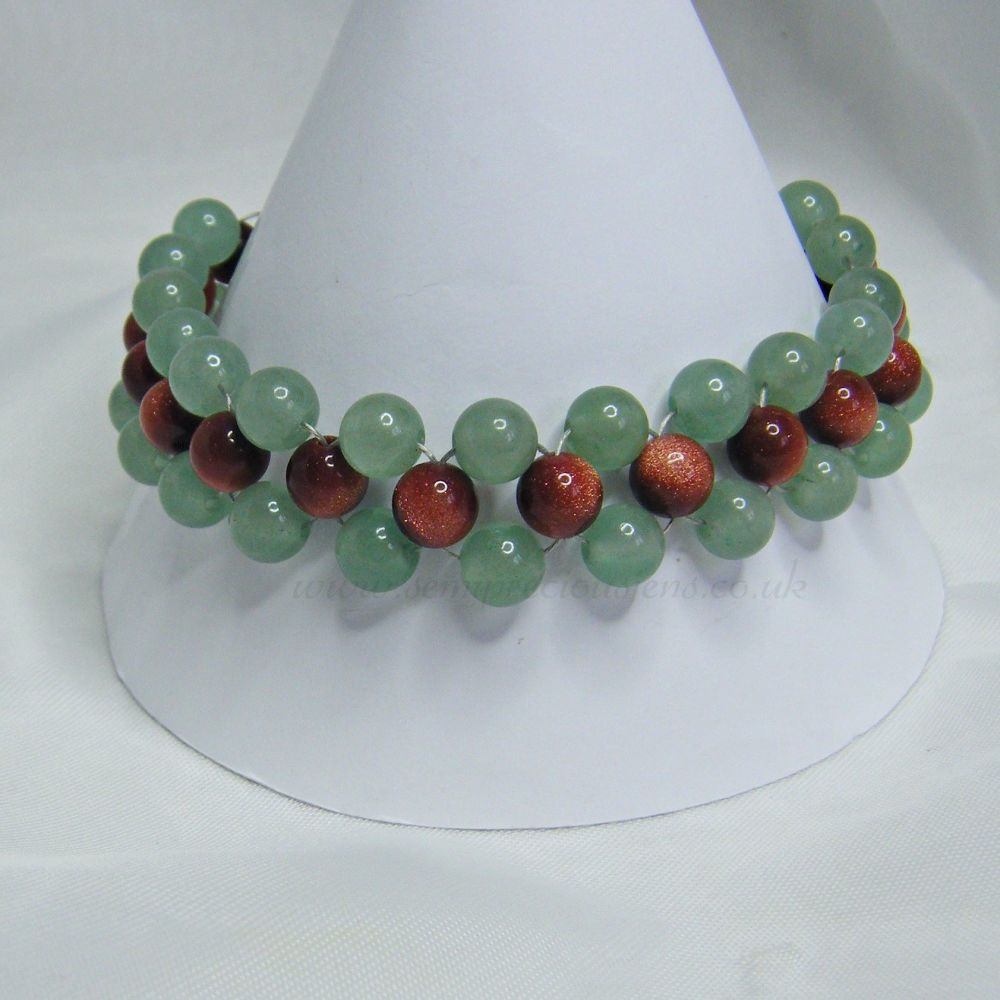 Green Aventurine and Goldstone Bracelet