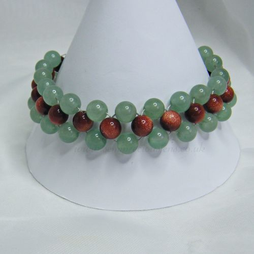 Green Aventurine and Goldstone Bracelet