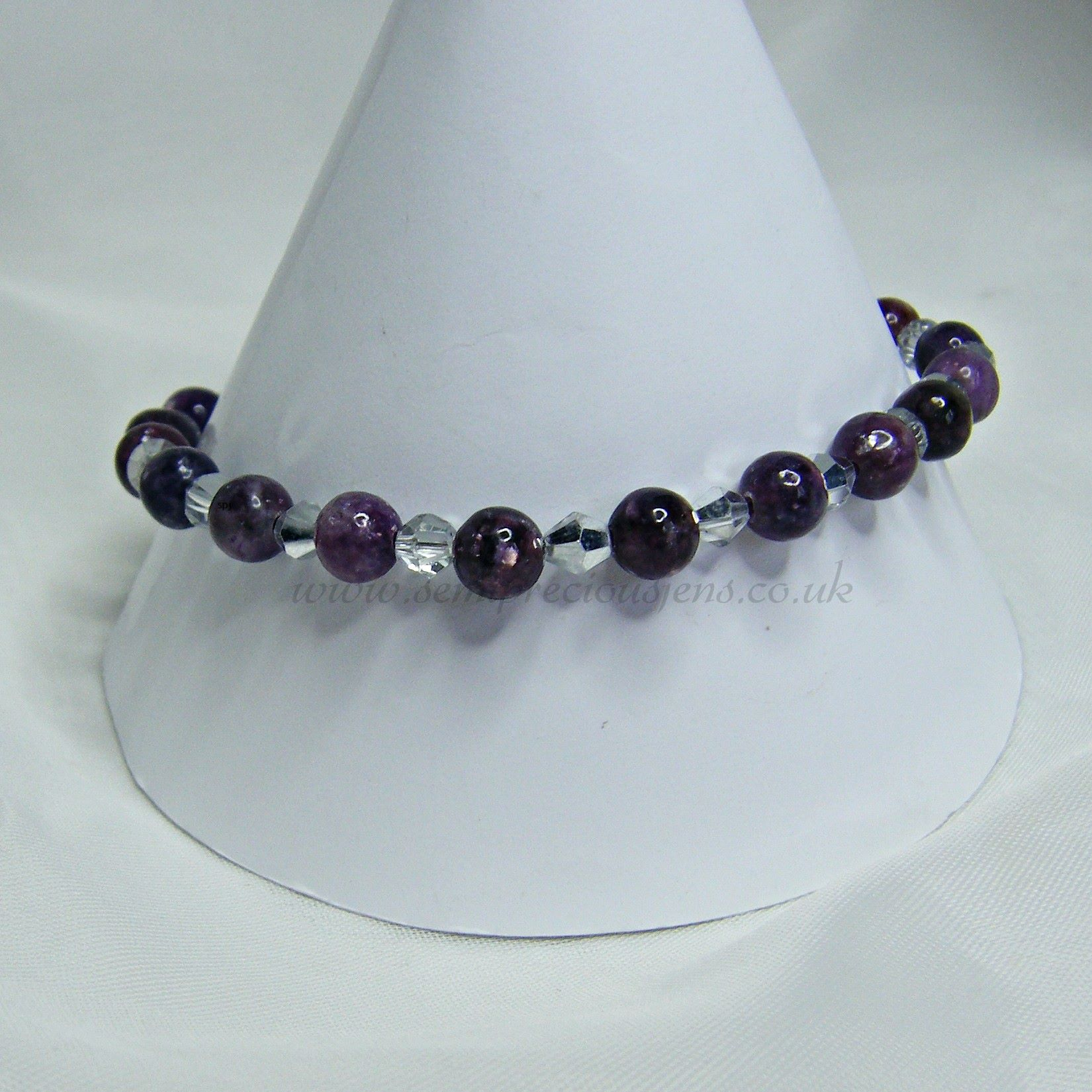 Lepidolite with Silver Plated Bicones Bracelet