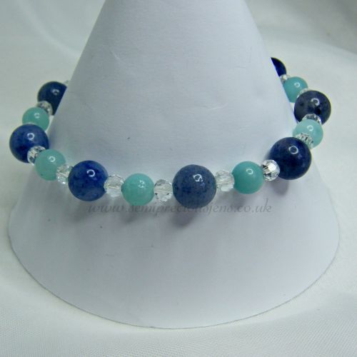 Blue Aventurine, Chinese Amazonite and Faceted Glass Stretch Bracelet