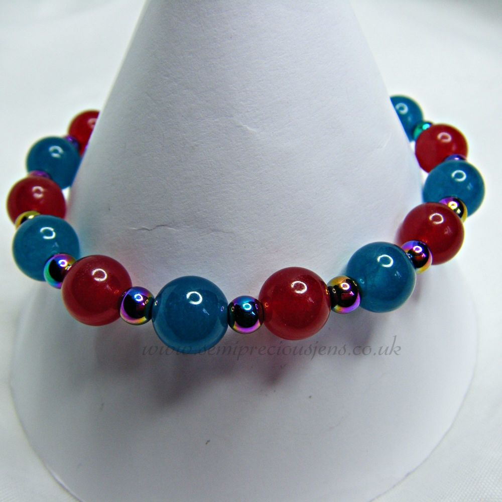 Deep Red and Apatite Blue Quartzite with Rainbow Hematite Stretch Bracelet