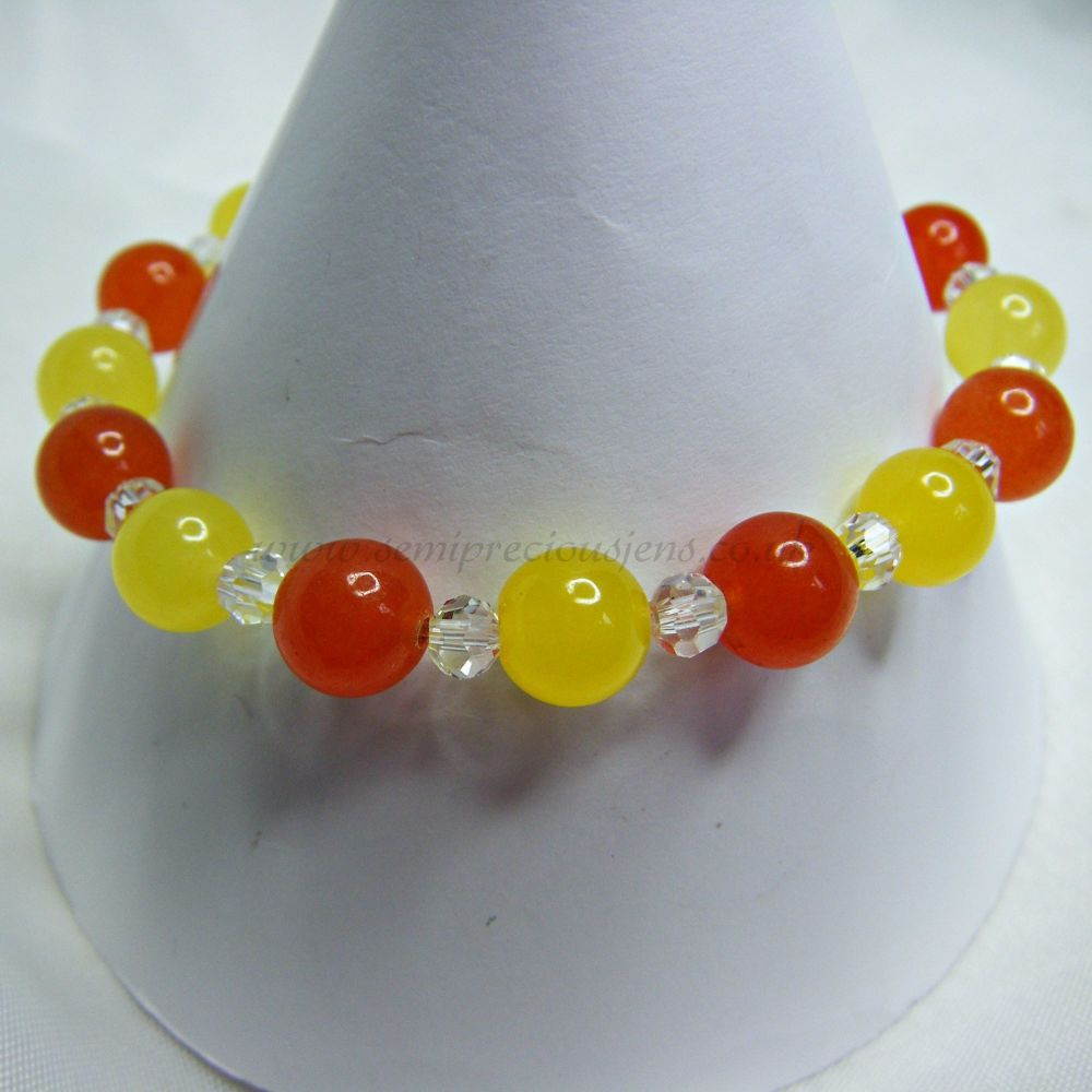Lemon Quartzite, Orange Dyed Jade and Faceted Glass Beads Stretch Bracelet