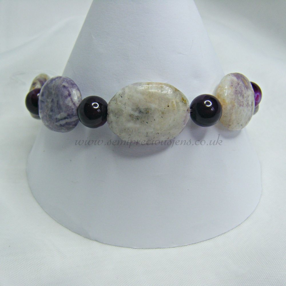 Lilac Lepidolite and Fuschia Stripey Banded Agate