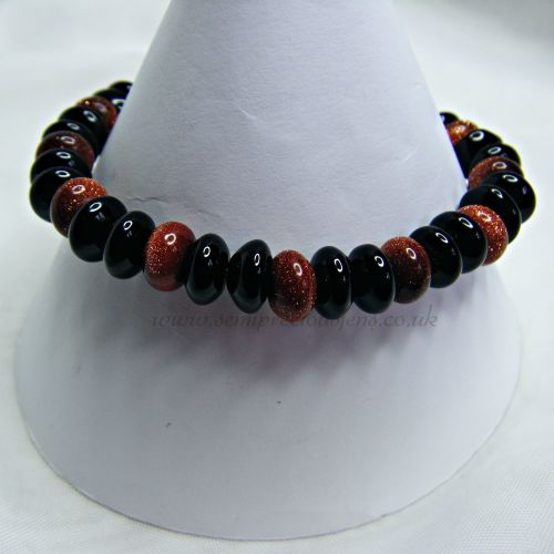 GSR-BOR-EB Goldstone and Black Onyx Stretch Bracelet