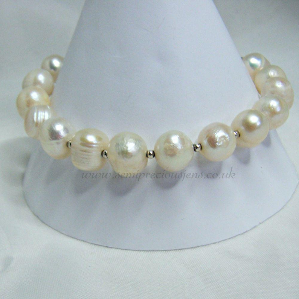 White Potato Pearl Bracelet