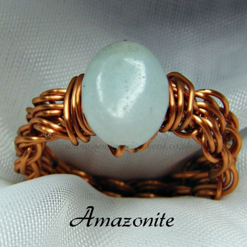 Amazonite Copper Wire Ring