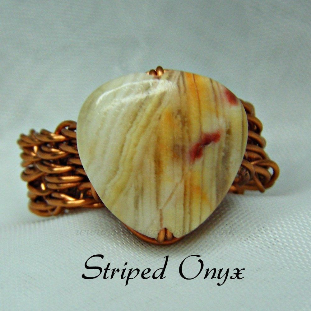 Striped Onyx Copper Wire Ring
