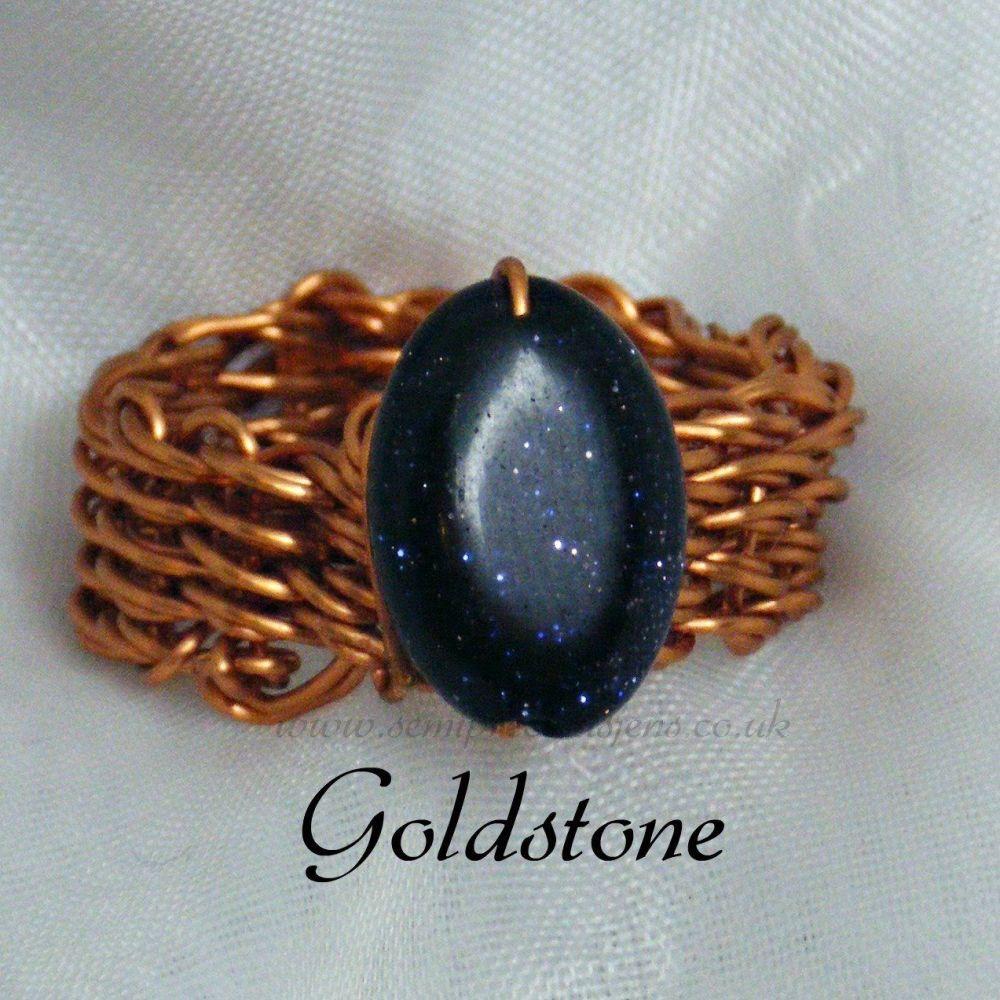 Blue Goldstone Copper Wire Ring