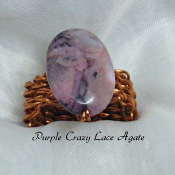 Purple Crazy Lace Agate Copper Wire Ring