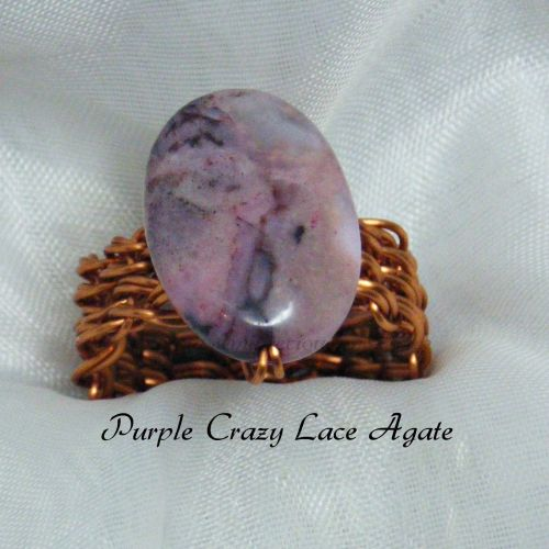 Purple Crazy Lace Agate Copper Wire Ring