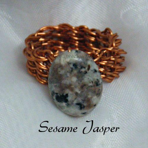 Sesame Jasper Copper Wire Ring
