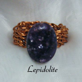 Lepidolite Copper Wire Ring