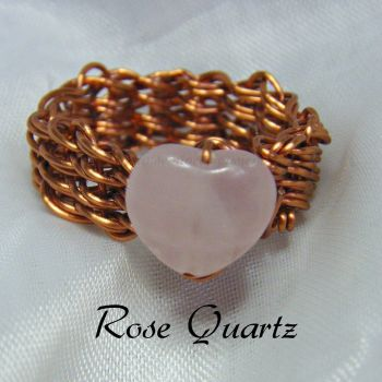 Rose Quartz Heart Copper Wire Ring