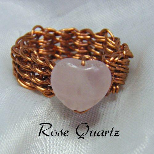 Rose Quartz Heart Copper Wire Ring