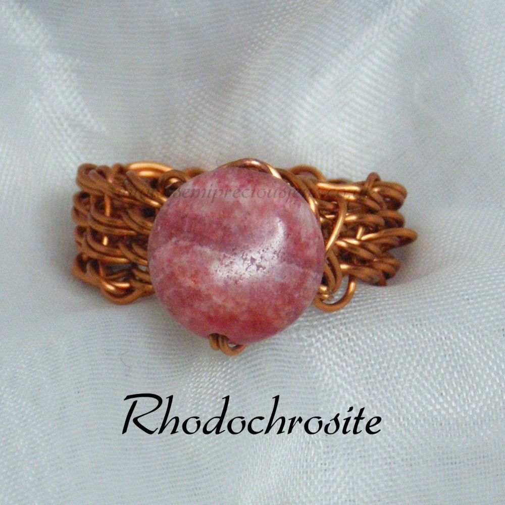 Rhodochrosite Copper Wire Ring