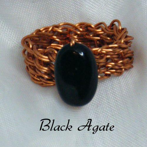 Black Agate Copper Wire Ring