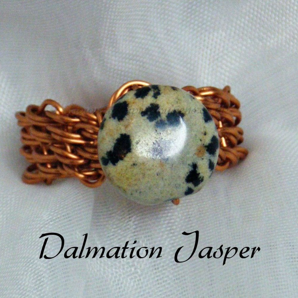 Dalmatian Jasper Copper Wire Ring
