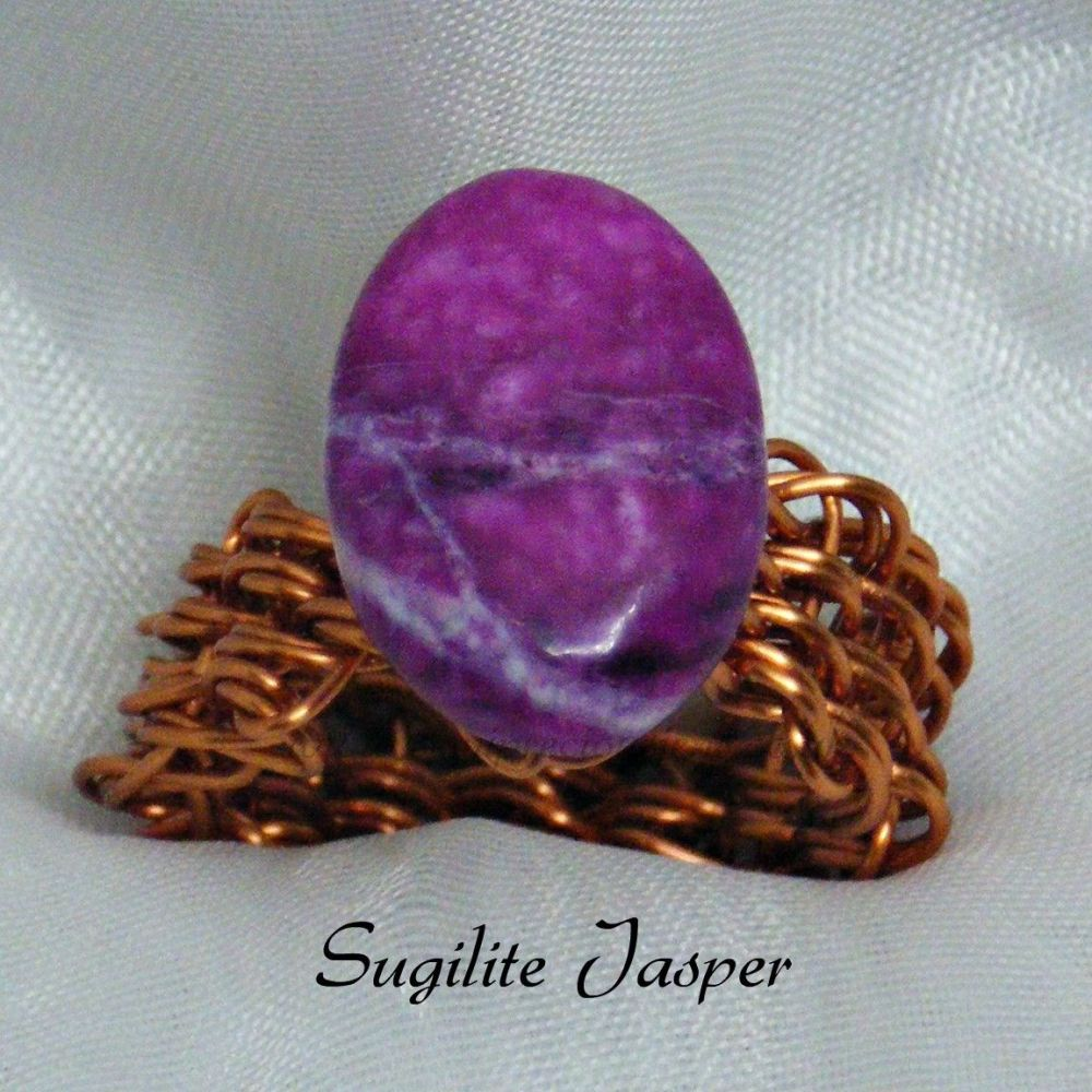 Sugilite Jasper Copper Wire Ring