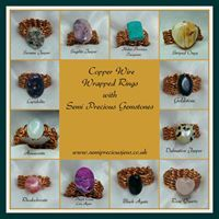 Copper Wire Wrapped Gemstone Rings