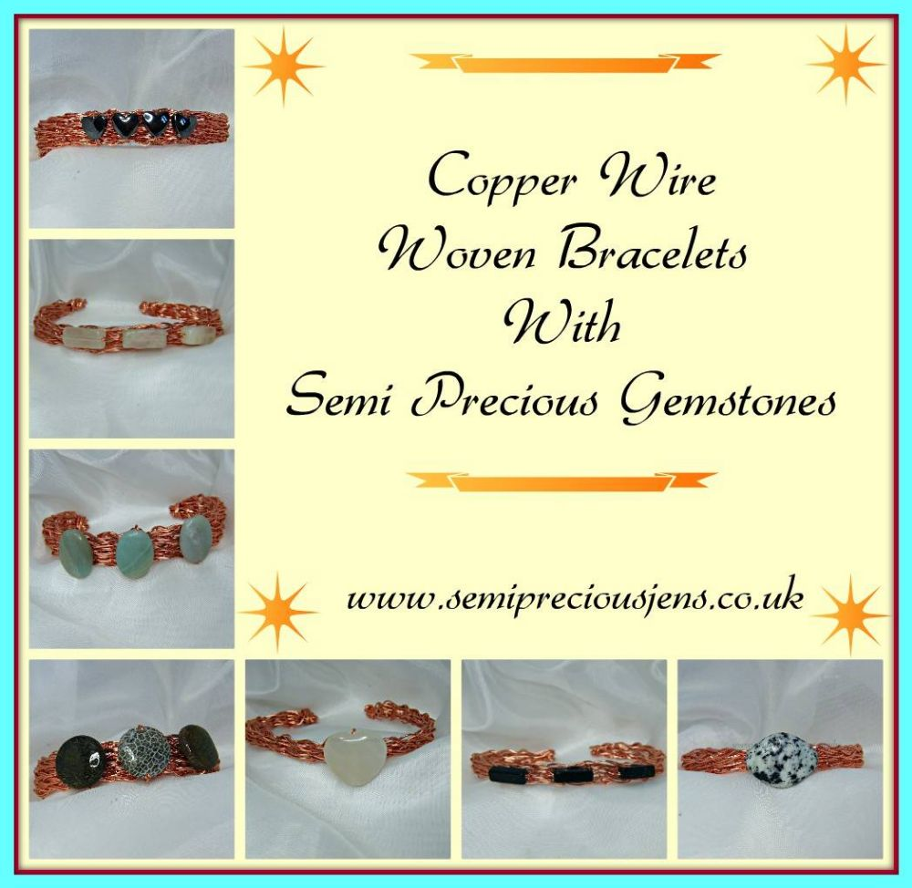 Copper Wire Wrapped Gemstone Bangles
