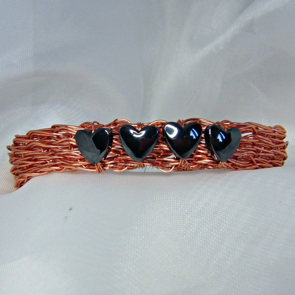 Hematite Hearts Copper Wire Bangle