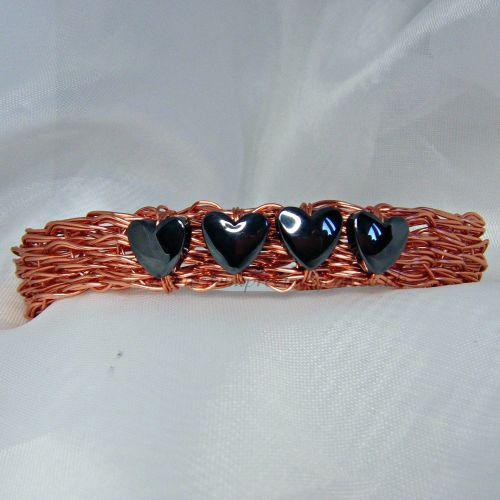 Hematite Hearts Copper Wire Bangle