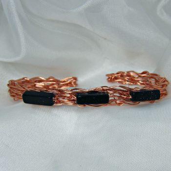 Blue Goldstone Copper Wire Bangle
