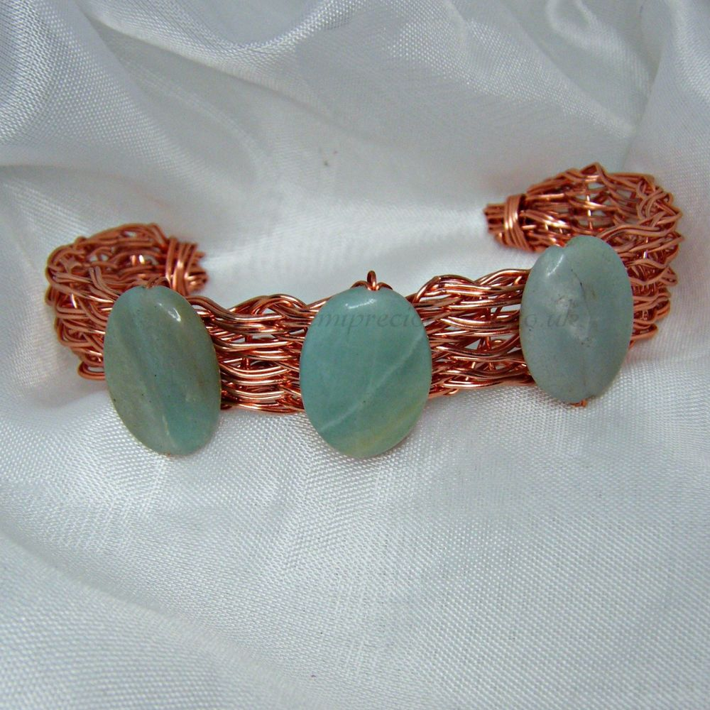 Amazonite Copper Wire Bangle