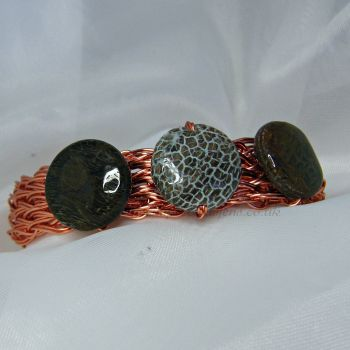 Snakeskin Jasper Copper Wire Bangle