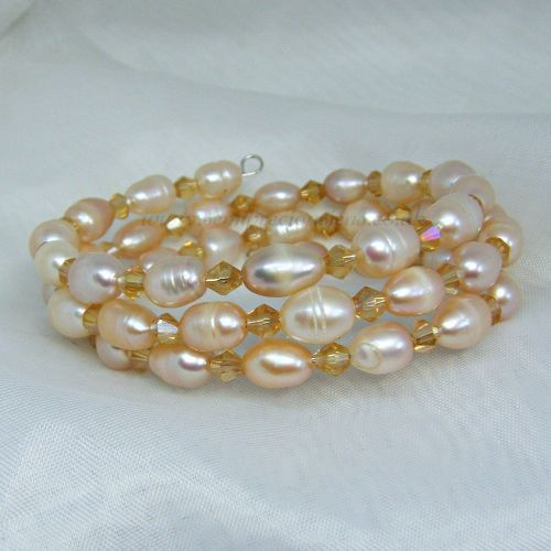 Peach/Pink Freshwater Pearls & Gold Bicone Memory Wire Bracelet