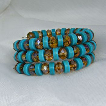 Genuine Turquoise Memory Wire Bracelet
