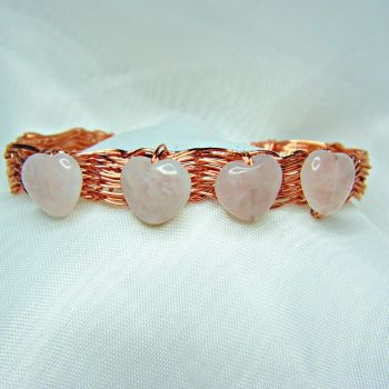 Rose Quartz Copper Wire Wrapped Bangle