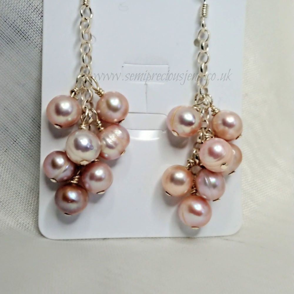 Peach Pearl Earrings on Sterling Silcer Chain