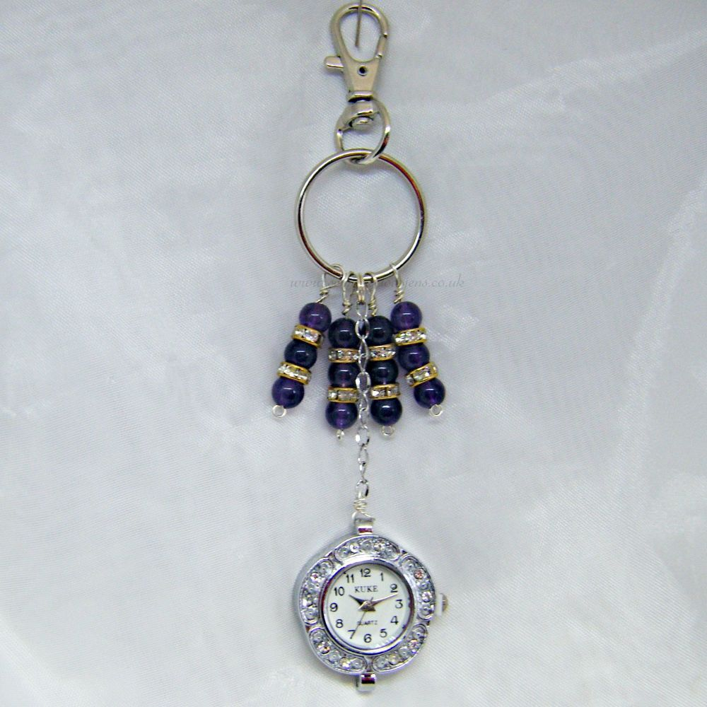 Amethyst  & Watch Keyring/Bag Charm