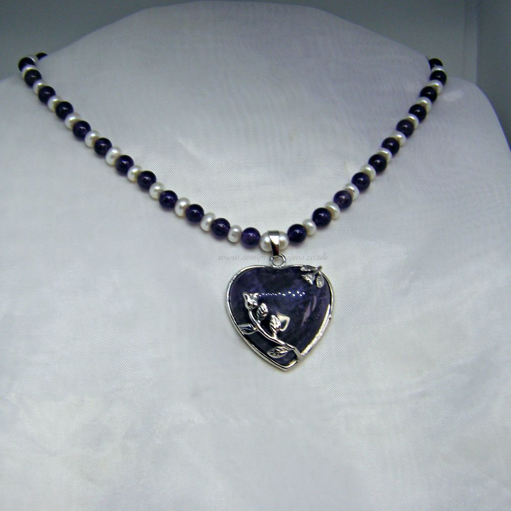 Amethyst & Freshwater Pearl Necklace with Amethyst Heart Pendant